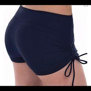 Navy blue high waist Spandex shorts side tie Large